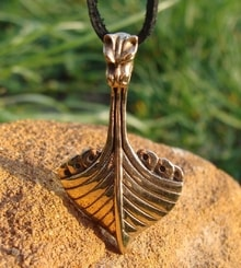 DRAKKAR, viking dragon ship, bronze pendant