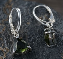 THALIA, earrings, faceted moldavite jewelry, silver