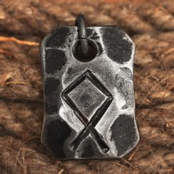 OTHALA, forged iron rune pendant