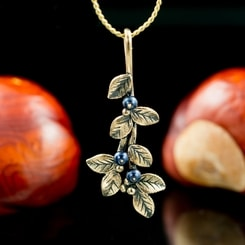 Blueberries, Pendant, bronze