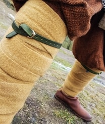 Medieval Leather Garters - green