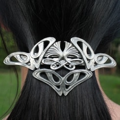 Art Nouveau, tin hair brooch