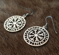 VEGVISIR, Icelandic Rune Earrings, bronze