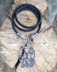 CERNUNNOS, snake heads, leather bolo
