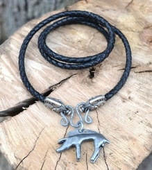 CELTIC BOAR, pendant, leather bolo