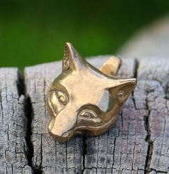 Celtic Fox, head, pendant, bronze