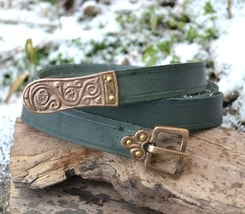 MORAVIA MAGNA, Slavic leather belt, green
