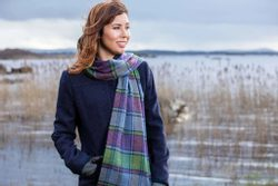 Purple Heritage Block Windowpane Scarf - Foxford, Ireland