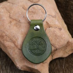 CELTIC TREE, Leather Keychain green