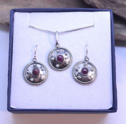 ANTICA ROMA, sterling silver jewelry set, ruby