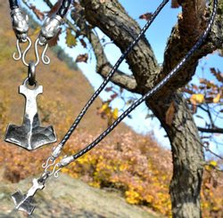 BIFRÖST, forged Thor's Hammer, leather necklace - bolo