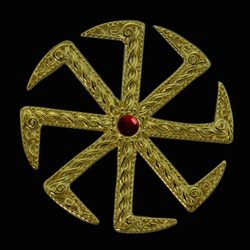 KOLOVRAT with GARNET, Slavic Pendant, 14K gold