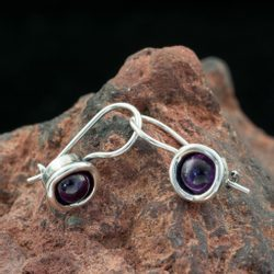 RIONA, Earrings, Amethyst, Silver