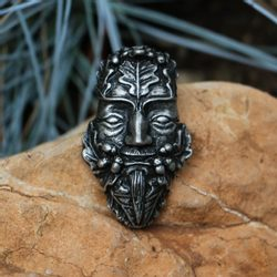 Oak Green Man, tin pendant