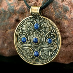 BATTERSEA, luxury Brythonic jewel, lapis lazuli, bronze