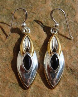 BLACK QUEEN, silver earrings with black spinel, Ag 925