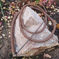 Braided Leather Cow Whip, brown
