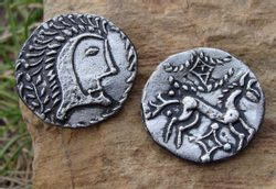 CELTIC COIN, ENGLAND, replica, GREAT BRITAIN IRON AGE COINS