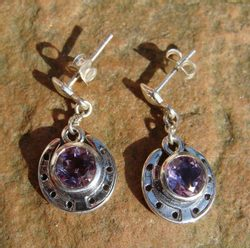 HORSESHOE, silver earrings with amethyst, Ag 925