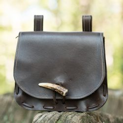 LEATHER HISTORICAL BELT BAG, antler, brown
