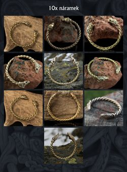 Pagan Bracelets - brass and bronze, wholesale set 10x