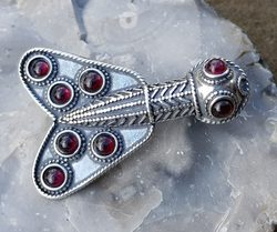 Merovingian Silver and Garnet Cicada Brooch, 5th Century