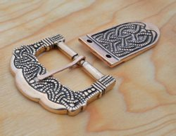 Bronze Viking Buckle and Strap End, Gokstad, Norway, replica