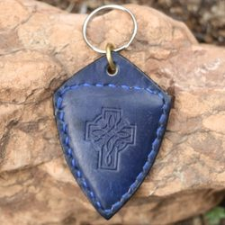 CELTIC CROSS leather kaychain blue