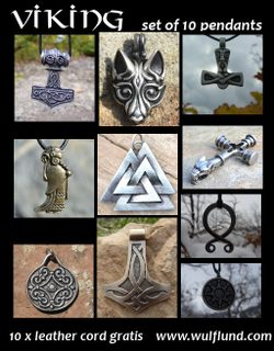 VIKING TALISMANS, Wholesale Lot of 10 pcs with leather cords
