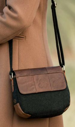 LEATHER FLAP HANDBAG, wool & leather