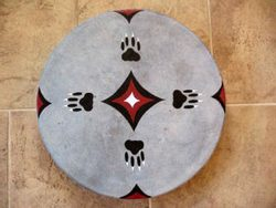 SHAMAN INDIAN DRUM, WOLF TRACK and the STARS 40 cm