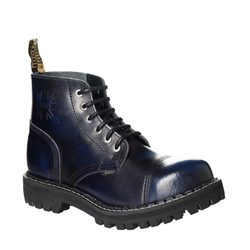 Leather boots STEEL blue 6-eyelet-shoes
