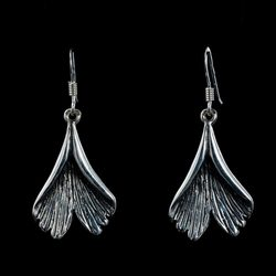 GINKGO, earrings, silver