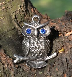 WISE OWL PENDANT, with glass