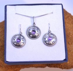 ANTICA ROMA, sterling silver jewelry set, amethyst