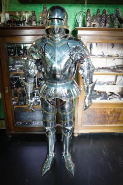 CUSTOM SUIT OF ARMOUR WITH SALLET, polished, 1.5 mm