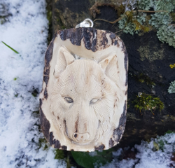 WOLF, carved antler pendant