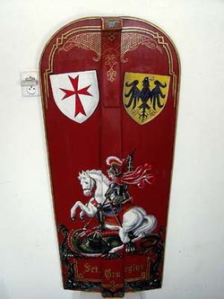 HAND PAINTED PAVISE, long wooden shield II