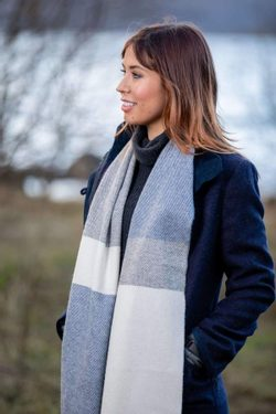 WHITE, UNIFORM and JEANS MIX STRIPE SCARF, lambswool