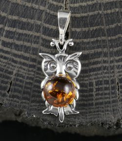 OWL, amber, silver pendant