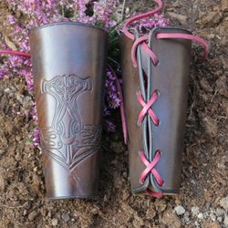 THOR's Hammer, leather bracers - pair