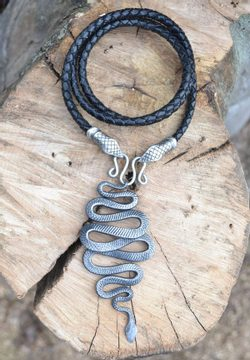 SNAKE, forged pendant, leather bolo