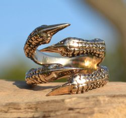 DINOSAUR RING, adjustable size, bronze
