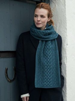 TREE of LIFE ARAN SCARF, merino wool, blue