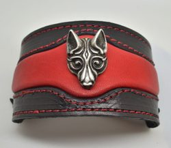 FENRIR - viking wolf leather bracelet