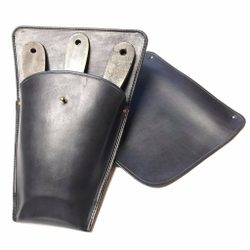 LEATHER BELT CASE for 3 Throwing Knives black