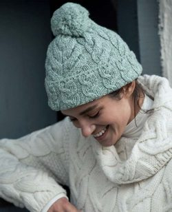 MULTI CABLE HAT, unisex, merino wool, grey