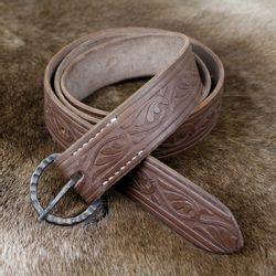 HIGHLANDER leather Belt with forged Buckle