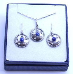 ANTICA ROMA, sterling silver jewelry set, lapis lazuli