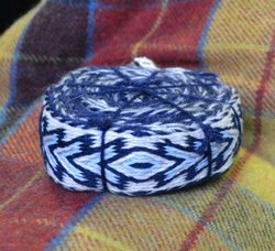 Woolen Tablet Woven Belt, Blue Combination